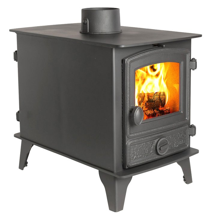 Hunter Hawk 4 Double Sided Wood Stove - Double Depth Black Rope Effect Door - Black