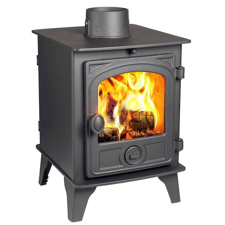 Hunter Hawk 4 Double Sided Wood Stove Black Contemporary Door - Black