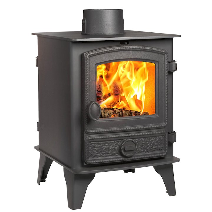 Hunter Hawk 4 Double Sided Wood Stove Black Rope Effect Door - Black