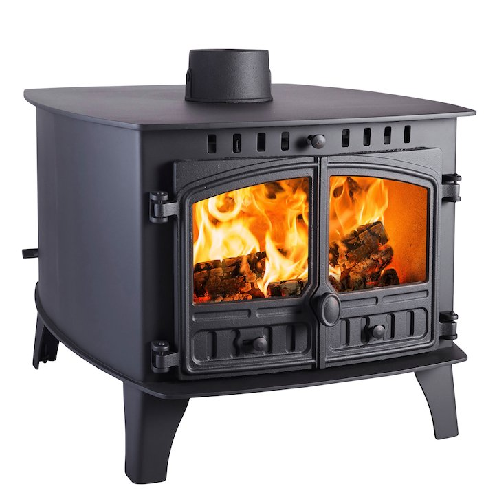 Hunter Herald 14 Double Sided FT Wood Stove - Double Depth Black Double Doors - Black