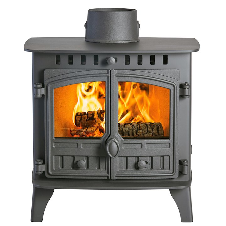 Hunter Herald 6 Double Sided FT Wood Stove - Double Depth Black Double Doors - Black