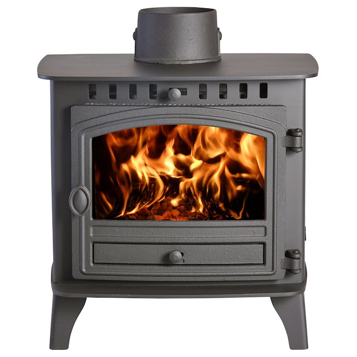 Hunter Herald 6 Double Sided FT Wood Stove - Double Depth Black Single Door - Black
