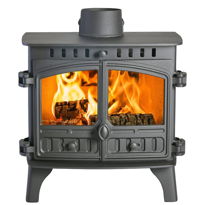 Hunter Herald 8 Double Sided FT Wood Stove - Double Depth Black Double Doors - Black