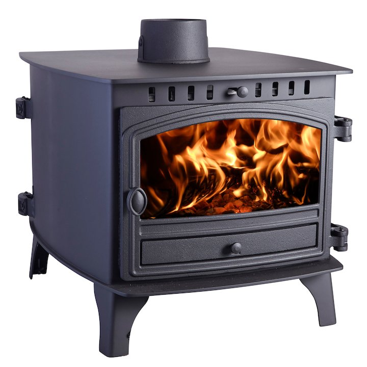 Hunter Herald 8 Double Sided FT Wood Stove - Double Depth Black Single Door - Black