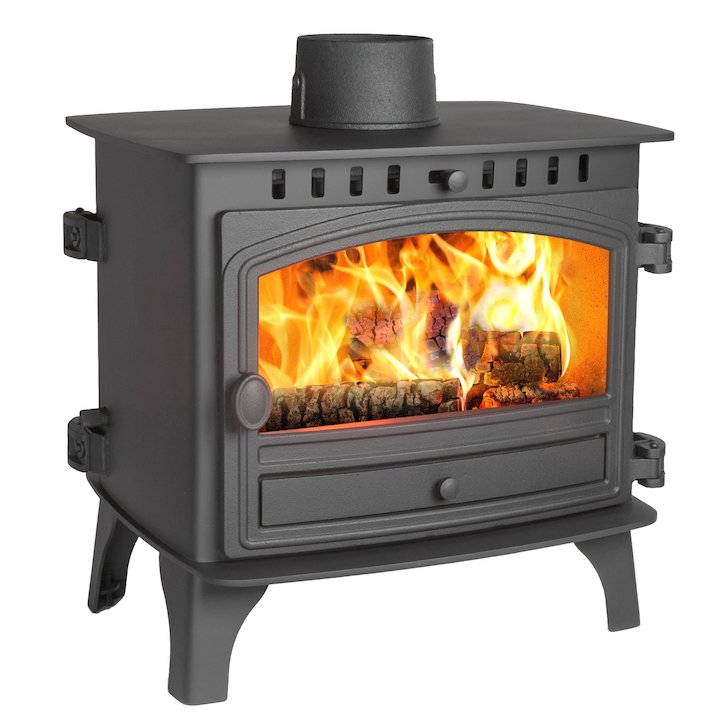 Hunter Herald 8 Double Sided FT Wood Stove Black Single Door - Black