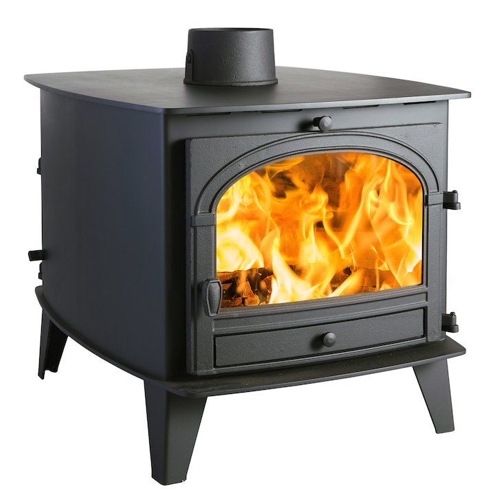 Parkray Consort 9 Double Sided Wood Stove - Double Depth Black Single Door - Black
