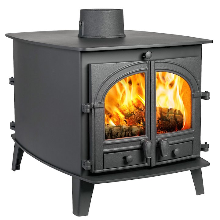 Parkray Consort 7 Double Sided Wood Stove - Double Depth Black Single Door - Black