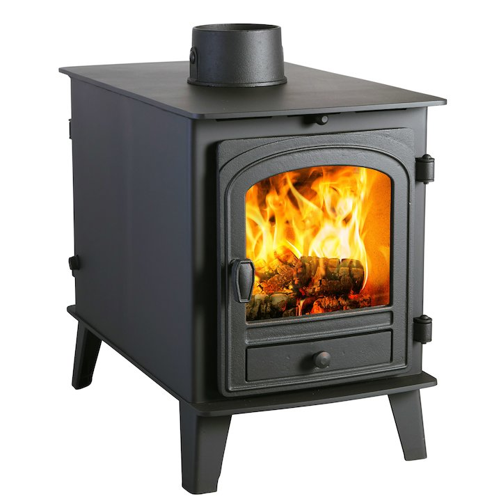 Parkray Consort 4 Double Sided Wood Stove - Double Depth Black Single Door - Black