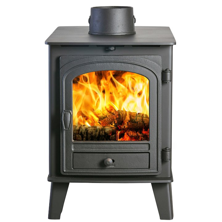 Parkray Consort 4 Double Sided Wood Stove Black Single Door - Black