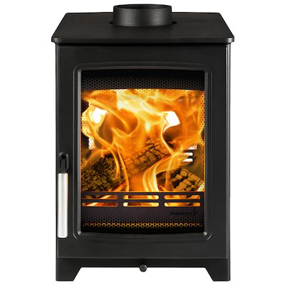Parkray Aspect 4 Double Sided Wood Stove - Double Depth Black Silver Handles