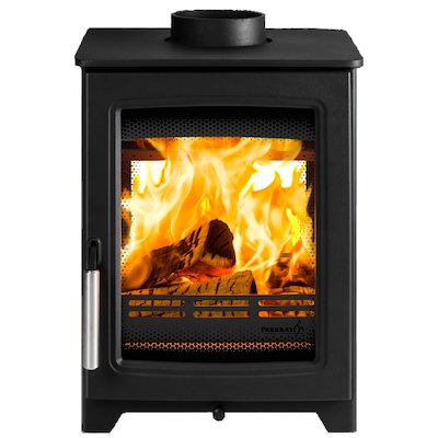 Parkray Aspect 4 Double Sided Wood Stove Black Silver Handles