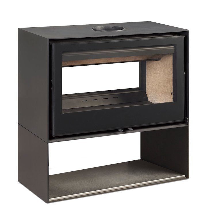 Rocal Habit 100 DC Logstore Double Sided Wood Stove - Black