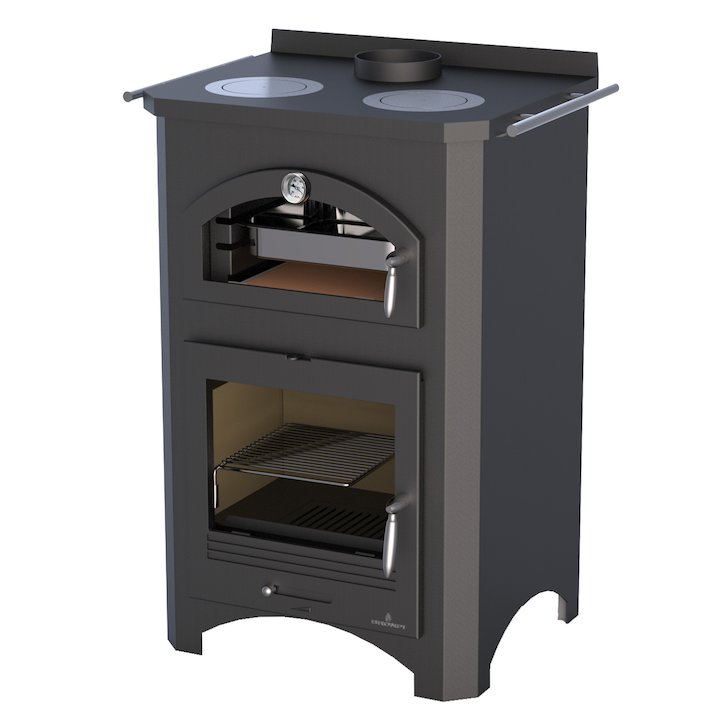 Bronpi Monza Wood Cooking Stove - With Oven - Black