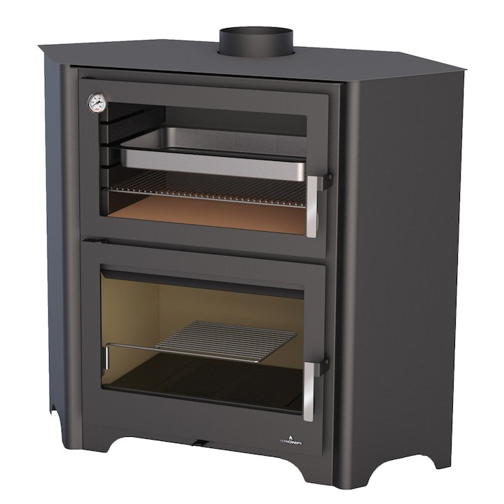 Bronpi Murano-R Wood Cooking Stove - With Oven - Black