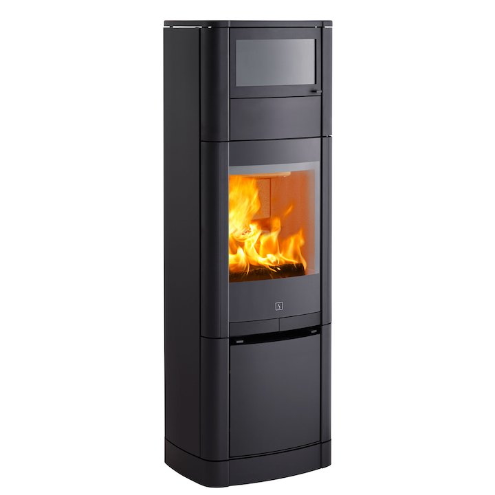 Scan 65 High Top Wood Cooking Stove - With Oven Black Solid Sides - Black