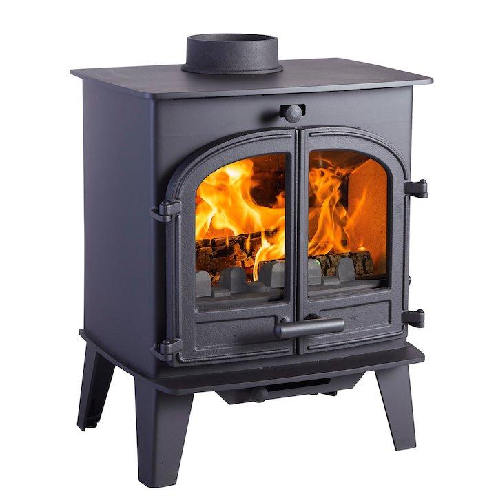 Cleanburn Lovenholm Multifuel Stove Black Double Doors - Black
