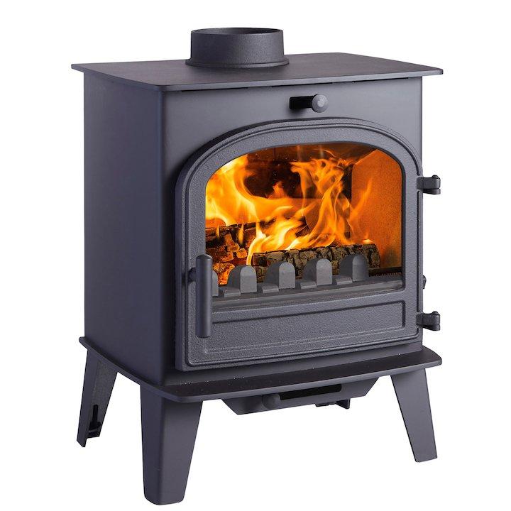 Cleanburn Lovenholm Multifuel Stove Black Single Door - Black