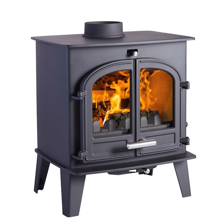 Cleanburn Norreskoven Multifuel Stove Black Double Doors - Black