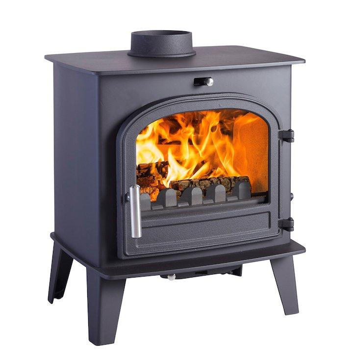 Cleanburn Norreskoven Multifuel Stove Black Single Door - Black