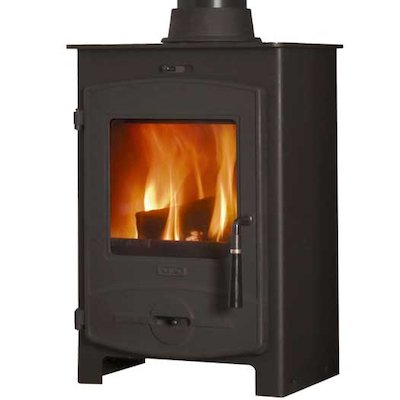 Flavel 1 Multifuel Stove Black CV Curved Door