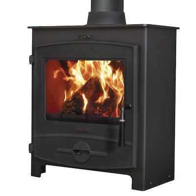 Flavel 2 Multifuel Stove Black CV Curved Door