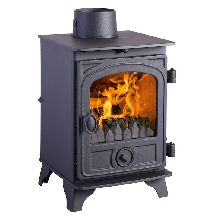 Hunter Hawk 3 Multifuel Stove Black Contemporary Door - Black