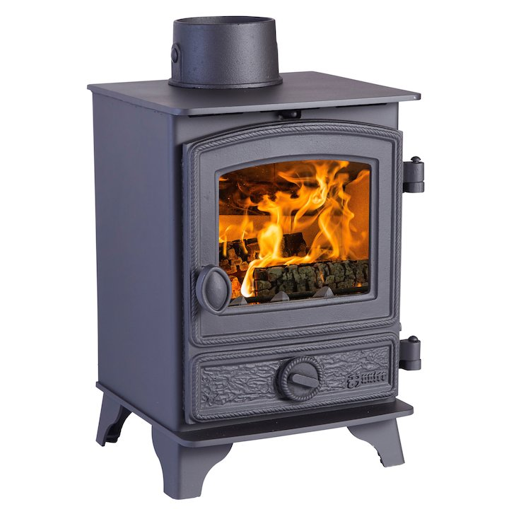 Hunter Hawk 3 Multifuel Stove Black Rope Effect Door - Black