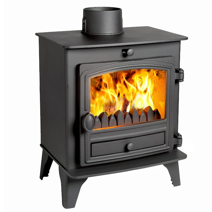 Hunter Herald 5 Compact Multifuel Stove Black Single Door - Black