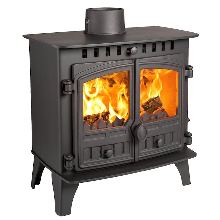 Hunter Herald 5 Slimline Multifuel Stove Black Double Doors - Black