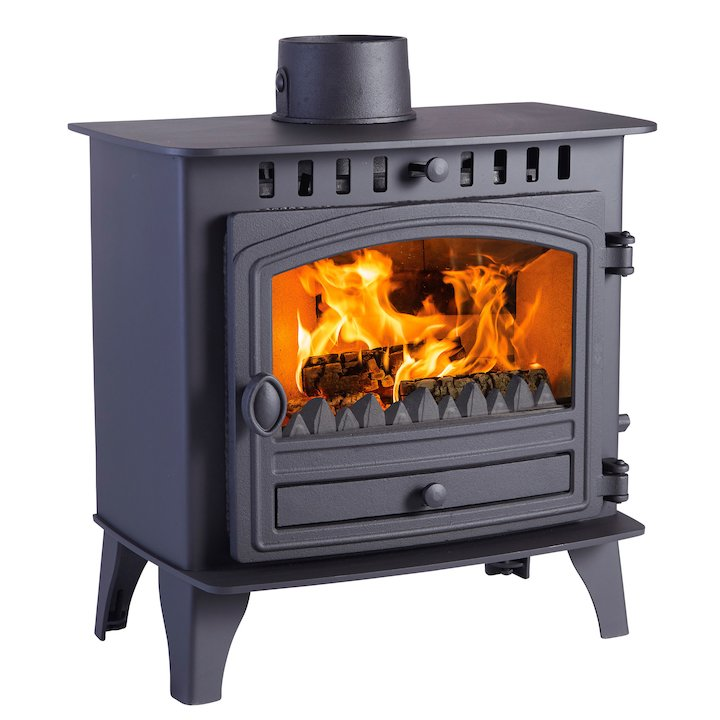 Hunter Herald 5 Slimline Multifuel Stove Black Single Door - Black