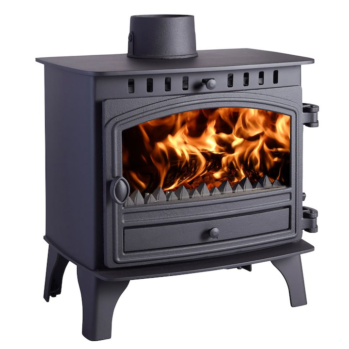 Hunter Herald 8 Multifuel Stove Black Single Door - Black
