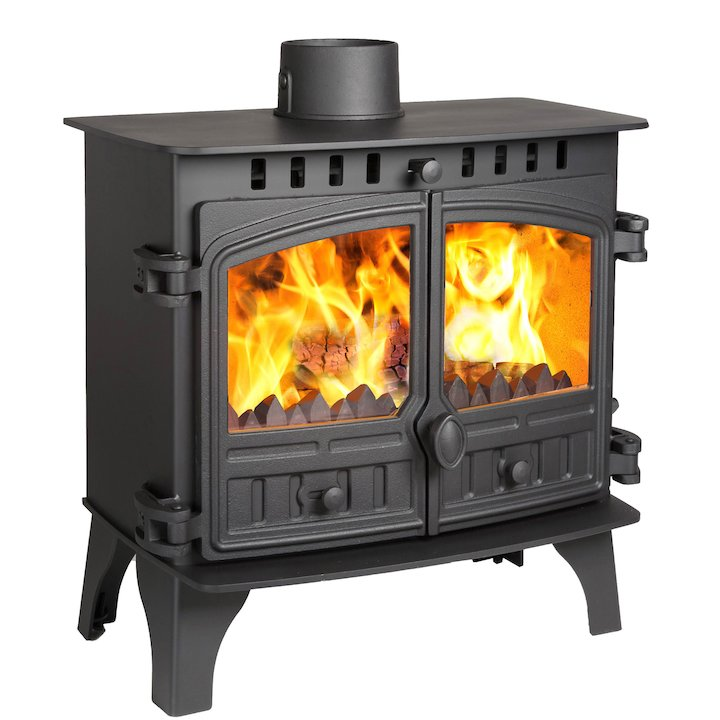 Hunter Herald 8 Slimline Multifuel Stove Black Double Doors - Black