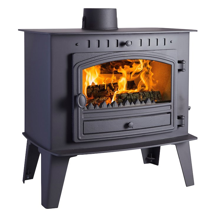 Hunter Herald Inglenook High Multifuel Stove Black Single Door - Black