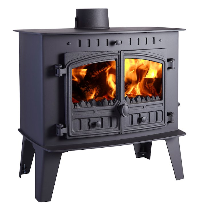 Hunter Herald Inglenook Low Multifuel Stove Black Double Doors - Black