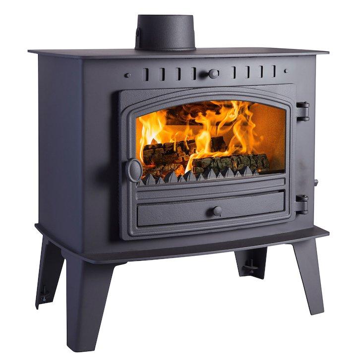 Hunter Herald Inglenook Low Multifuel Stove Black Single Door - Black