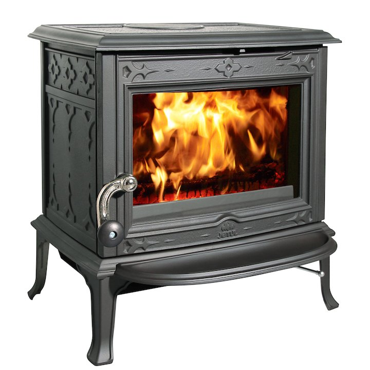 Jotul F100 Multifuel Stove Black Clear Glass Door - Black