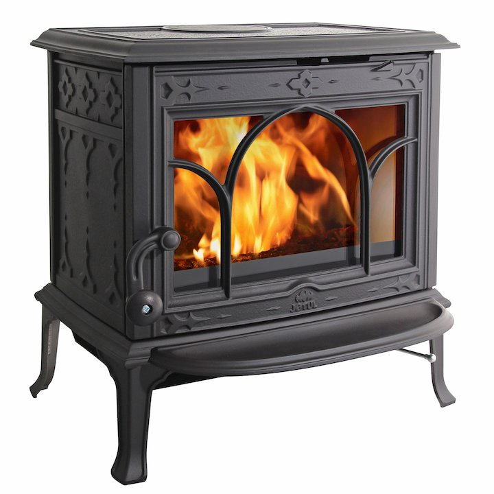 Jotul F100 Multifuel Stove Black Tracery Glass Door - Black