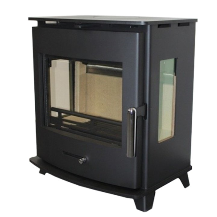 Pevex Newbourne 50FS Multifuel Stove Black Side Glass Windows - Black