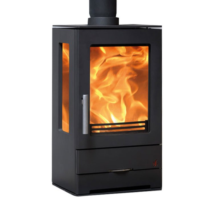 ACR Trinity Multifuel Stove Black Side Glass Windows - Black