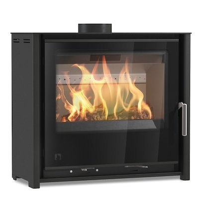 Arada i600 Slimline Low Multifuel Stove Midnight Black Black Glass Framed Door Black Trim