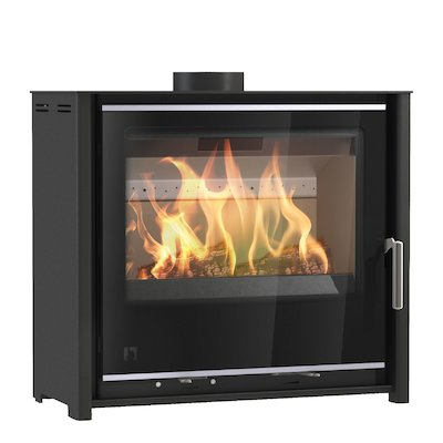Arada i600 Slimline Low Multifuel Stove Midnight Black Black Glass Framed Door Silver Trim
