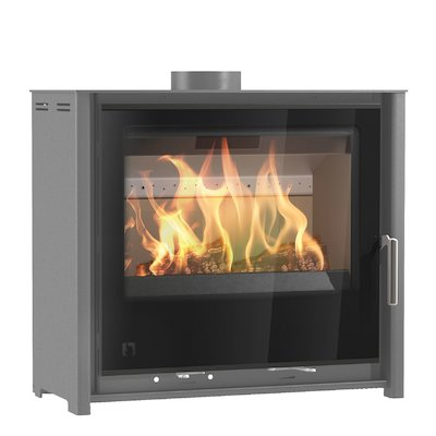 Arada i600 Slimline Low Multifuel Stove Slate Grey Black Glass Framed Door Black Trim
