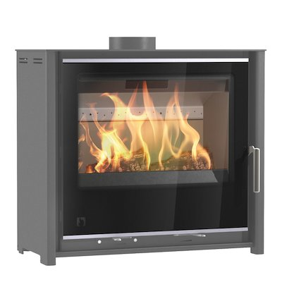 Arada i600 Slimline Low Multifuel Stove Slate Grey Black Glass Framed Door Silver Trim