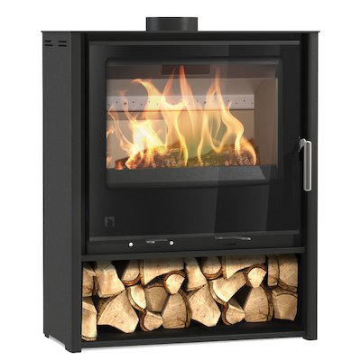 Arada i600 Slimline Midi Multifuel Stove Midnight Black Black Glass Framed Door Black Trim
