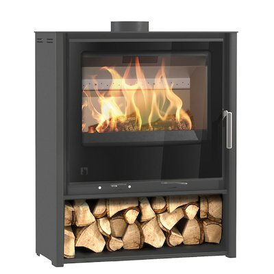 Arada i600 Slimline Midi Multifuel Stove Slate Grey Black Glass Framed Door Black Trim