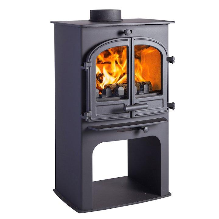 Cleanburn Lovenholm Logstore Multifuel Stove Black Double Doors - Black