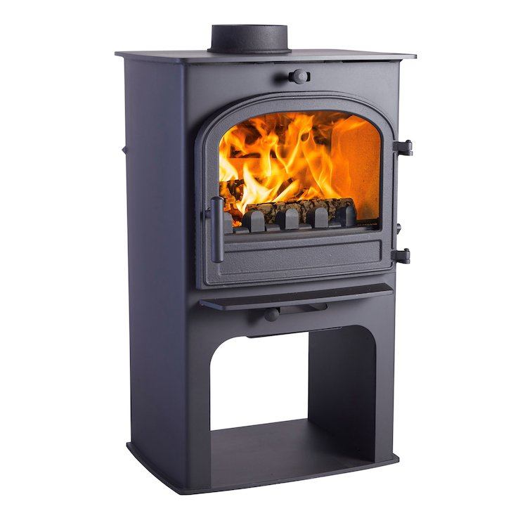 Cleanburn Lovenholm Logstore Multifuel Stove Black Single Door - Black