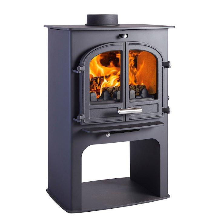 Cleanburn Norreskoven Logstore Multifuel Stove Black Double Doors - Black