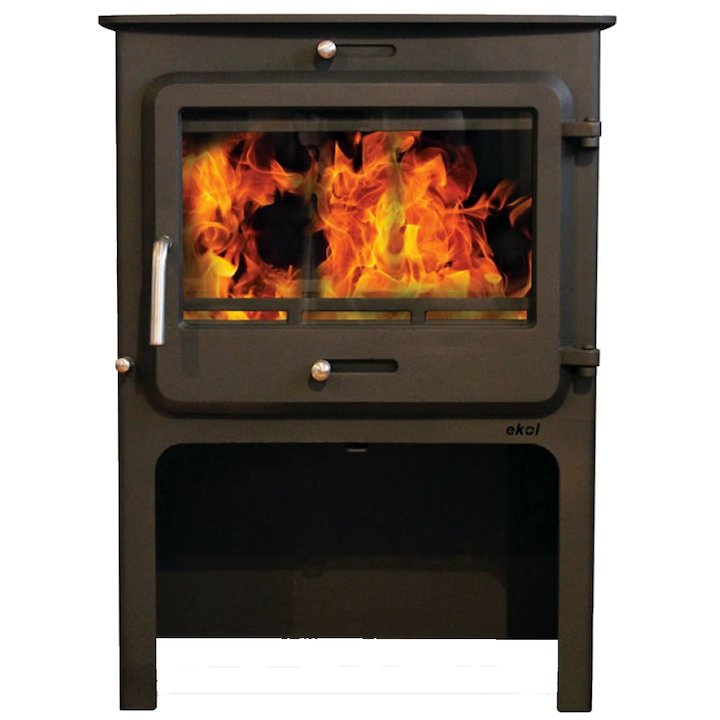 Ekol Clarity Vision Wide Logstore Wood Stove - Black