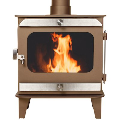 Firestorm 10 Multifuel Stove Honey Glow Brown Brushed Stainless Trim